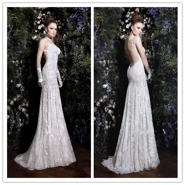 Alluring Sheath Spaghetti Straps Lace Backless 2017 Cheap Wedding
