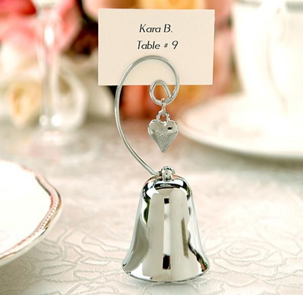 Wedding Favor Charming Chrome Bell Place Card Photo Holder With