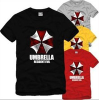 Wholesale Black Gray White Umbrella - Free shipping Chinese Size S---XXXL summer t shirt game Resident Evil umbrella logo printed Personality tee 6 color 100% cotton