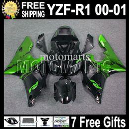 Wholesale Green R1 Fairings - 7 Free gifts High Quality For YAMAHA ! YZF-R1 00-01 YZF R1 YZF 1000 00 01 MT804 YZFR1 YZF1000 2000 2001 Green flame black YZF-1000 Fairing