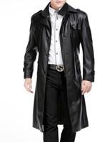 kürk yakalı uzun ceket erkek toptan satış-Ücretsiz kargo Kış yeni stil erkekler deri ceket takım elbise yaka uzun bölüm ayrılabilir çift yaka artı kalın kadife kürk ceket