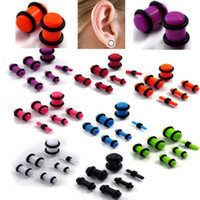 Wholesale Stretcher Earrings - Earring Jeweley 96pcs Lots Gauge Acrylic Tunnel Ear Plugs Kit EXPANDER Stretcher Set 2-8mm Mix [BC77(12)*8]
