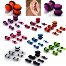 Wholesale Acrylic Plug Ear Gauges - Earring Jeweley 96pcs Lots Gauge Acrylic Tunnel Ear Plugs Kit EXPANDER Stretcher Set 2-8mm Mix [BC77(12)*8]