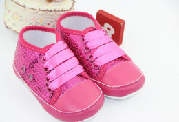 Wholesale Wholesale Red Sequin Fabric - Wholesale - Hot sales pink silver bling beaded sequins fabric 11cm-13cm spring autumn girls toddler baby shoes 4-color high quality