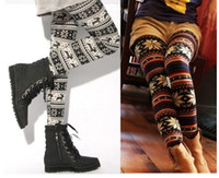 Wholesale 2014Fashion Womens Xmas Snowflake Reindeer Knitted Warm Leggings Tights autumn Pants