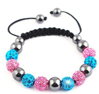 Wholesale Crystal Hematite Jewelry Wholesale - Brand New Women Fashion pink and snowy blue Crystal Clay Disco Shamballa bracelet Hematite Adjustable Cord Bracelet Shamballa Jewelry