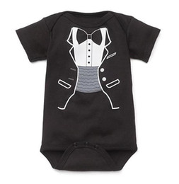 Wholesale Coverall Romper - baby rompers shortall tuxedo boys' bodysuit one-piece girls' romper outfits cotton coverall