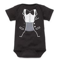 Wholesale boys rompers 18 months - baby rompers shortall tuxedo boys' bodysuit one-piece girls' romper outfits cotton coverall