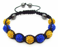 Wholesale Crystal Hematite Jewelry Wholesale - Brand New Lady Fashion Handmade Blue and Yellow Crystal Clay Disco Shamballa Bracelet Hematite Cord Adjustable Bracelet Shamballa Jewelry