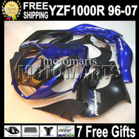yamaha yzf thunderace al por mayor-7gifts para YAMAHA! YZF1000R Thunderace 96-07 Azul negro YZF 1000R 96 97 98 99 00 01 02 03 04 05 06 07 MT656 YZF-1000R HOT Blue Fairing Kit