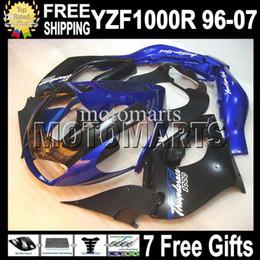 Wholesale Yzf Thunderace - 7gifts For YAMAHA ! YZF1000R Thunderace 96-07 Black blue YZF 1000R 96 97 98 99 00 01 02 03 04 05 06 07 MT656 YZF-1000R HOT Blue Fairing Kit