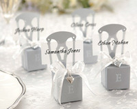 Wholesale Wedding Name Cards Chair - Wedding candy boxes of Miniature Silver Chair Favor Box with Heart Charm and Ribbon(name card available) 120pcs lot