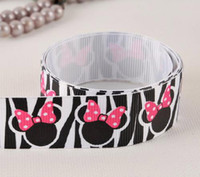 "Wholesale Pink Zebra Print Ribbon - 10yards 7 8""(22mm) Black zebra pink bow printed DIY gift ribbon for hair bow"