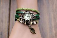 Wholesale ladies retro watch resale online - Fashion Wrap PU Leather Women Retro Charms Watch Bracelets Wrist Quartz Lady Watch DHL