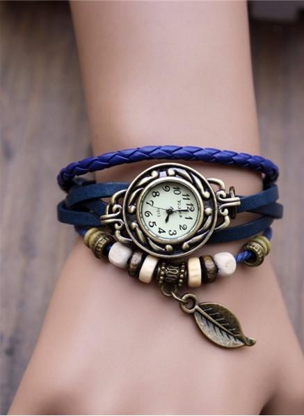 Moda de cuarzo retro Wrap Wrap Relojes Mujeres Pulsera de cuero Relojes Mezcla de hojas de color Relojes de cuarzo Envío libre de DHL