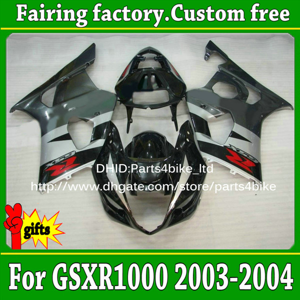 Custom glossy gray black al45 abs fairings for SUZUKI 03 04 GSX R1000 GSXR 1000 2003 2004 K3 bodywork fairing with 7 gifts
