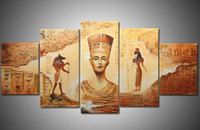 Wholesale High End Oil Painting - Framed 5 Panels 100% Hand Painted High End Amazing Huge Wall Decor Art Panel Egyptian Oil Painting on Canvas XD01103