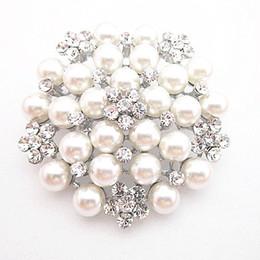 Vintage rhinestone pins online shopping - Vintage Silver Tone Faux Pearl Crystal Flower Pin Brooch Wedding Costume Broach B028 Vintage Imitation Pearl Flower Bridal Bouquet Pin