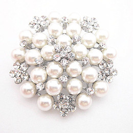 Wholesale Vintage Party Plates - Vintage Silver Tone Faux Pearl&Crystal Flower Pin Brooch Wedding Costume Broach B028 Vintage Imitation Pearl Flower Bridal Bouquet Pin