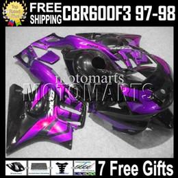 Wholesale 98 F3 - Fit HONDA ! CBR600F3 97 98 1997 1998 Purple CBR 600 F3 CBR600 F3 MT1979 97-98 CBR 600F3 Purple black 100%NEW HOT Fairing+Tank+7gifts