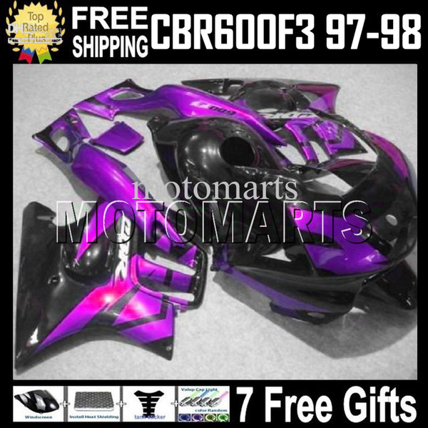 Adatta HONDA! CBR600F3 97 98 1997 1998 Purple CBR 600 F3 CBR600 F3 MT1979 97-98 CBR 600F3 Purple black 100% NEW HOT Carena + Carro armato + 7gifts