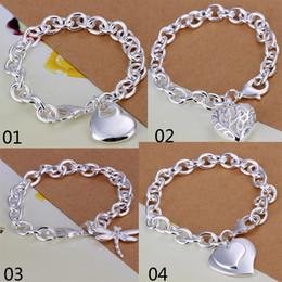 Wholesale Silver Hollow Heart Charm Bracelet - Mix 4 Style 925 Silver Links Chain Fit Hollow Heart Double Heart Dragonfly Pendant Charm Bracelets Jewelry Women's Bracelets Gift
