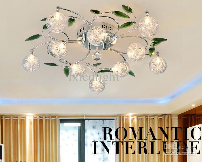 Crystal Leaves Aluminium Glass Balls Shade Ceiling Light Pendant - Chandelier leaves crystals