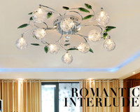 Wholesale Shaded Crystal Chandeliers - Crystal Leaves Aluminium Glass Balls Shade Ceiling Light Pendant Lamp Chandelier