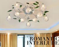 tonos claros de aluminio al por mayor-Crystal Leaves Aluminum Glass Balls Shade Lámpara de techo Lámpara colgante