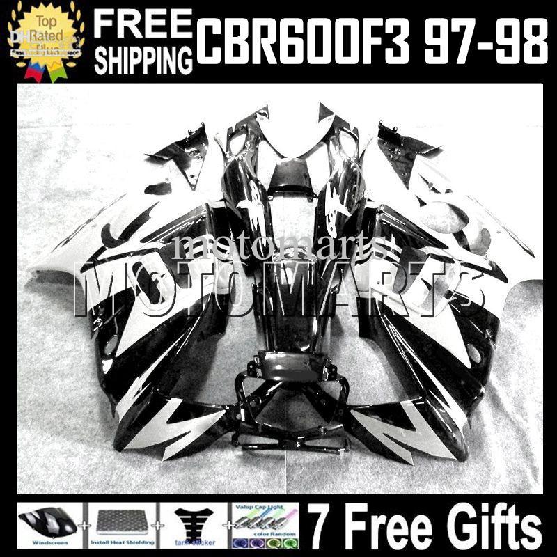 블랙 화이트 고품질 + 탱크 적합 HONDA CBR600F3 97-98 CBR600 97 98 화이트 CBR 600 F3 600F3 97 98 1997 1998 MT2020 Fairing 무료 배송