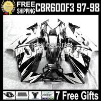 cbr f3 negro blanco al por mayor-Negro blanco de alta calidad + ajuste del tanque HONDA CBR600F3 97-98 CBR600 97 98 blanco CBR 600 F3 600F3 97 98 1997 1998 MT2020 Carenado Envío gratis