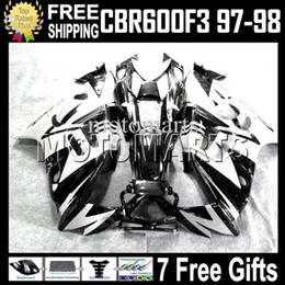 Wholesale 1998 f3 - Black white High Quality+Tank Fit HONDA CBR600F3 97-98 CBR600 97 98 White CBR 600 F3 600F3 97 98 1997 1998 MT2020 Fairing Free shipping