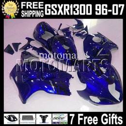 7Free gifts For SUZUKI Hayabusa GSXR1300 MT1641 GSX R1300 96 97 98 99 00 01 02 03 04 05 06 07 Dark Blue GSX-R1300 1998-2007 Full Fairing on Sale