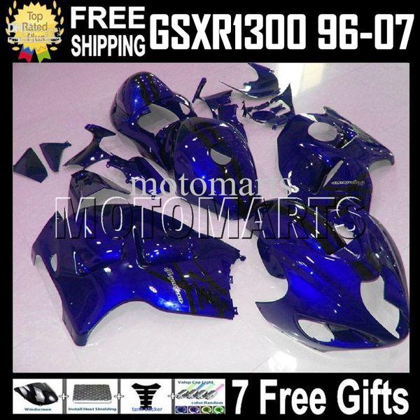 7 regalos gratis para SUZUKI Hayabusa GSXR1300 MT1641 GSX R1300 96 97 98 99 00 01 02 03 04 05 06 07 Azul oscuro GSX-R1300 1998-2007 Carenado completo 1998-2007