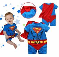 Wholesale Boys Shortall 24 Months - batman baby romper short sleeve tuxedo bodysuit cloak mantle babywear costume cape baby boy clothes outfits infant shortall D69