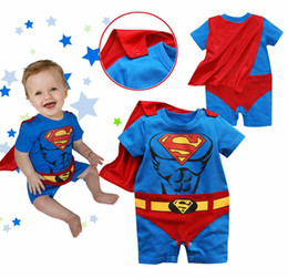 Wholesale Baby Red Cape - batman baby romper short sleeve tuxedo bodysuit cloak mantle babywear costume cape baby boy clothes outfits infant shortall D69