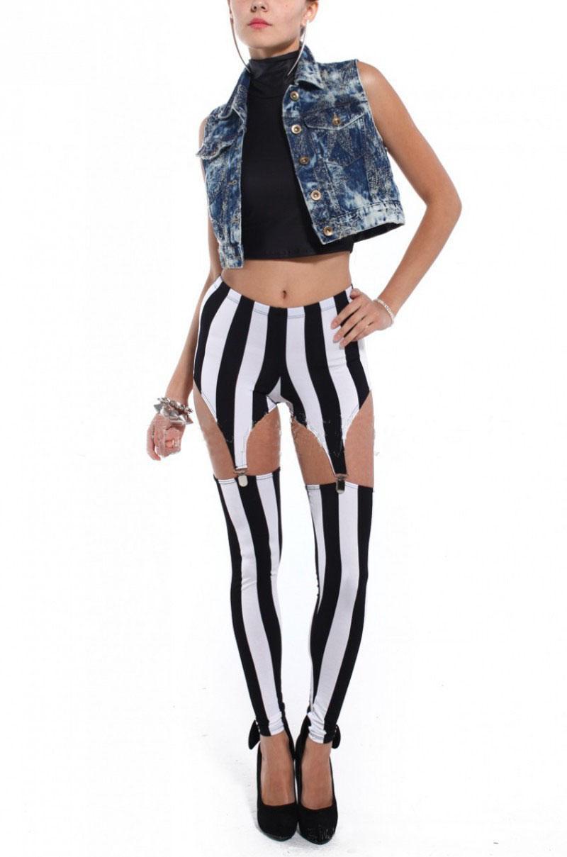 Fashion Sexy Women Black And White Vertical Stripes Garters Leggings Clamp Two Pants Imitation Garters Leggings 2113