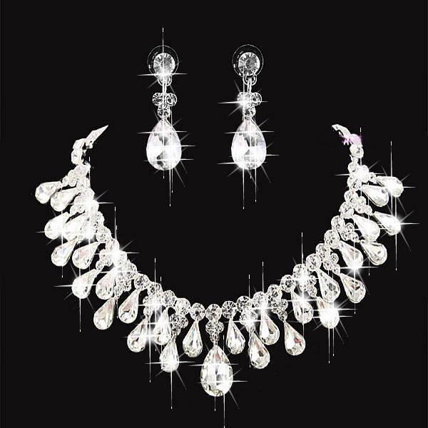 Mode Parel Crown Tiara Bridal Sieraden Crystal Choker Ketting Oorbellen Bruiloft Avond Party Dames Haaraccessoires CN100