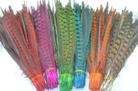 Wholesale Lime Green Feathers - Free shipping 100pcs lot 50-55cm red orange hot pink royal blue purple turquoise yellow lime green Ringneck Pheasant Tail Feathers