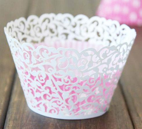 white Laser cut Little Vine Cupcake wrappers,Vine Figtree wedding cup cake Liners 100pcs