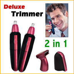 Wholesale Ear Nose Hair Clipper - 2 in1 Waterproof Deluxe Red Facial Hair Beard Nose and Ear Trimmer Shaver Groomer Clipper Cleaner Free Shipping