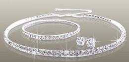 Wholesale Pearl Necklace Earring Bracelet Set - Rhinestone Diamantes Shiny Wedding Jewelry Sets Necklace bracelet and earrings