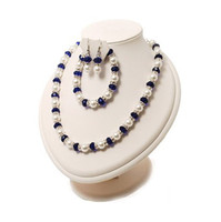 Wholesale Wedding Jewelry Sets Royal Blue - Royal Blue Crystal and Pearl Bridal Necklace Jewelry Set Bracelet and Earrings
