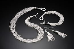 Wholesale Cheap Bulk Bracelets - Fashion Comstum 925 Silver Jewelry Sets Necklace Bracelet Tassel Earrings Accessories Ladies Gift Jewelry Findings In Bulk Cheap Retro Wild