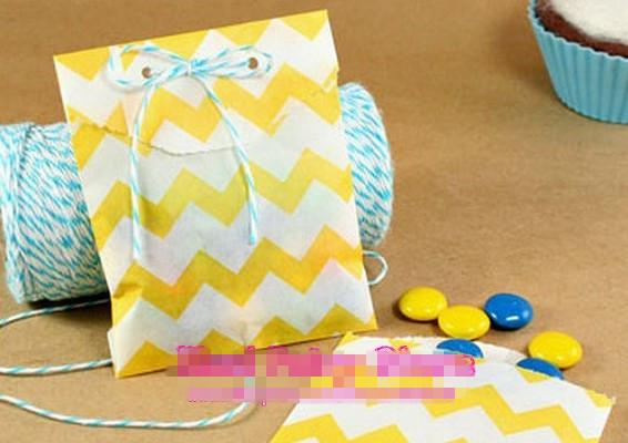 Papier Gift Gunst Tassen Party Food Paper Bag Chevron Treat Craft Paper Popcorn Tassen Polka Dot Middy Bitty Food Safe Flat Paper Craft Bags