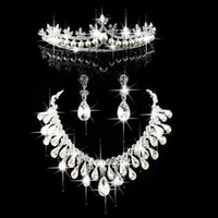 Wholesale tiara necklace set pearl crystal - Fashion Pearl Crown Tiara Bridal Jewelry Crystal Choker Necklace Earrings Wedding Evening Party Women Hair Accessories CN100