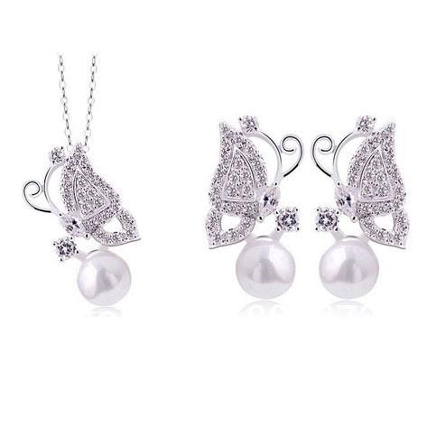 Silver Plated Sparkle Crystal And Imitation Pearl Women Butterfly Necklace And Earrings Jewelry Sets