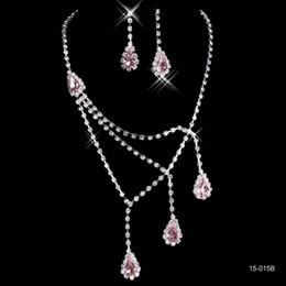 2019 ювелирные наборы Лучшие продажи уникальные свадебные подружки невесты горный хрусталь ожерелье серьги комплект ювелирных изделий выпускного вечера в наличии горячая распродажа 15015b дешево ювелирные наборы