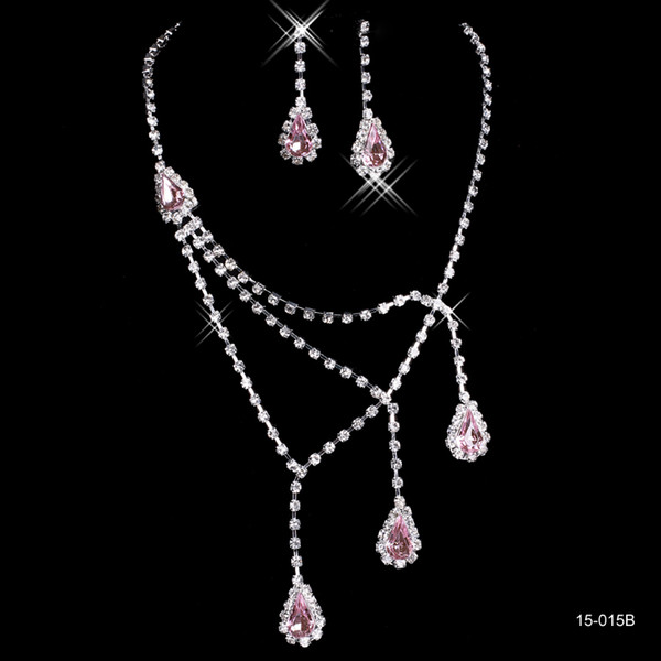 Best Selling Unique Wedding Bridal Bridesmaids Rhinestone Necklace Earrings Jewelry Set Prom In Stock Hot Sale 15015b