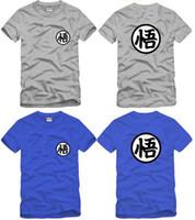 top çince toptan satış-Ücretsiz kargo Çin Boyutu S-XXXL yaz tişört Dragon Ball goku baskılı t-shirt anime t gömlek% 100% pamuk 6 renk tops